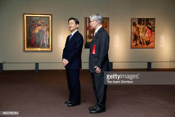 Crown Prince Naruhito visits the special exhibition 'Arte a Firenze da Botticelli a Bronzino' at the Tokyo Metropolitan Art Museum on December 11...