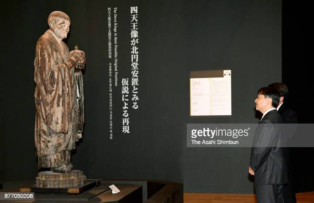 Crown Prince Naruhito visits the 'Unkei The Great Master of Buddhist Sculpture' exhibition at Tokyo National Museum on November 21 2017 in Tokyo Japan