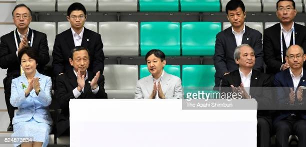 Crown Prince Naruhito watches a Men's volleyball match of the Inter High School Sports festival at the Yamagata City Sports Center on July 29 2017 in...