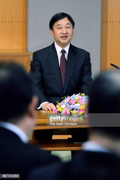 Crown Prince Naurhito speaks during a press conference ahead of his visit to Malaysia at Togu Palace on April 11 2017 in Tokyo Japan
