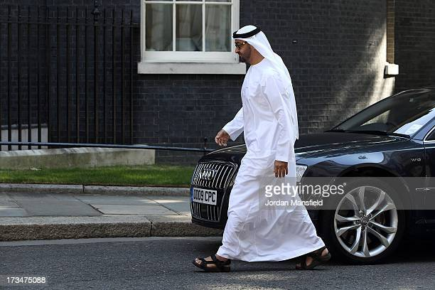 Crown Prince of Abu Dhabi Mohammed bin Zayed Al Nahyan arrives to meet with Prime Minister David Cameron at Downing Street on July 15 2013 in London...
