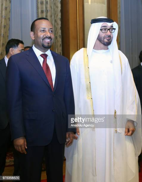 Crown Prince of Abu Dhabi Mohammed bin Zayed Al Nahyan is welcomed by Ethiopian Prime Minister Abiy Ahmed at National Palace in Addis Ababa Ethiopia...