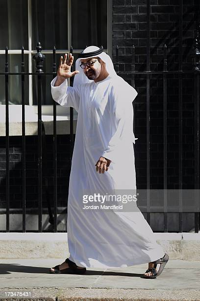 Crown Prince of Abu Dhabi, Mohammed bin Zayed Al Nahyan leaves after meeting with Prime Minister, David Cameron at Downing Street on July 15, 2013 in...