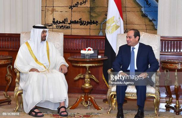 Crown Prince of Abu Dhabi Mohammed bin Zayed Al Nahyan meets President of Egypt Abdel Fattah elSisi at the Heliopolis Palace in Cairo Egypt on June...