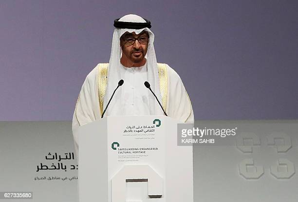 Crown Prince of Abu Dhabi Sheikh Mohamed bin Zayed alNahyan delivers a speech during the closing ceremony of an international conference on...