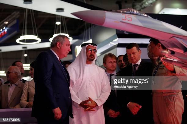 Crown Prince of Abu Dhabi Sheikh Mohammed bin Zayed Al Nahyan attends the Dubai Airshow 2017 at Al Maktoum International Airport in Dubai United Arab...
