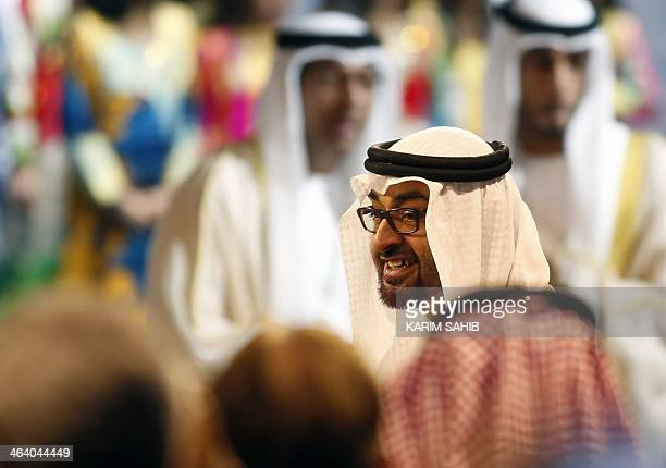 Crown Prince of Abu Dhabi Sheikh Mohammed bin Zayed alNahyan arrives for the opening of the World Future Energy Summit on January 20 2014 2014 at the...