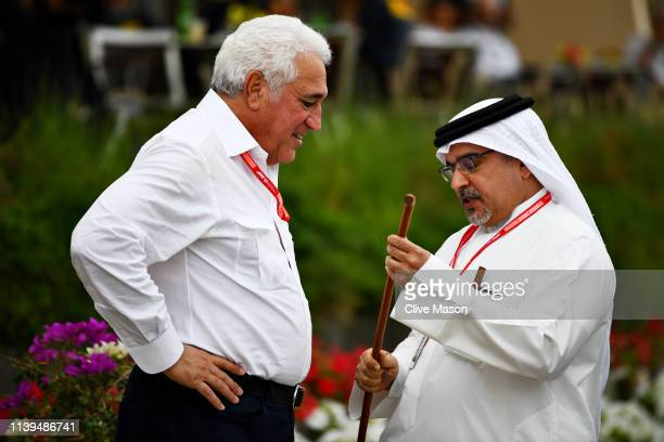Crown Prince of Bahrain Prince Salman bin Hamad bin Isa Al Khalifa talks with Owner of Racing Point Lawrence Stroll in the Paddock before the F1...