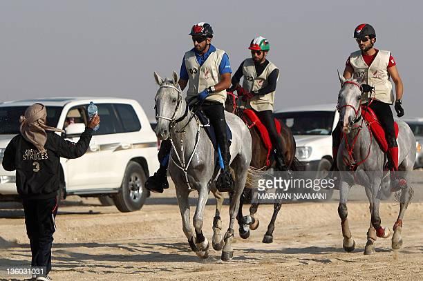 Crown Prince of Dubai Sheikh Hamadan bin Mohammed bin Rashid alMaktoum his Bahraini counterpart Sheikh Nasser bin Hamad alKhalifa and Emirati rider...