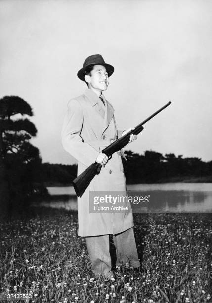 Crown Prince of Japan Akihito during a shooting trip circa 1955