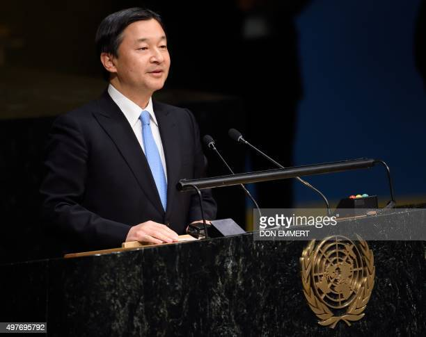 Crown Prince of Japan Naruhito speaks on the floor of the General Assembly Hall at the Special Thematic Session on Water and Disaster November 18...