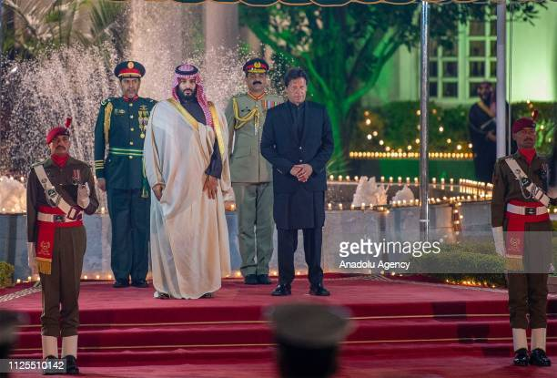 Crown Prince of Saudi Arabia Mohammad bin Salman is welcomed by Prime Minister of Pakistan Imran Khan ahead of their meeting in Islamabad Pakistan on...