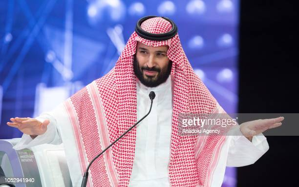 Crown Prince of Saudi Arabia Mohammad bin Salman speaks during the second day of 'The Future Investment Initiative also known as an annual investment...