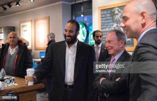 Crown Prince of Saudi Arabia Mohammed bin Salman Al Saud meets with Bloomberg founder and former NYC Mayor Michael A Bloomberg at a cafe in New York...