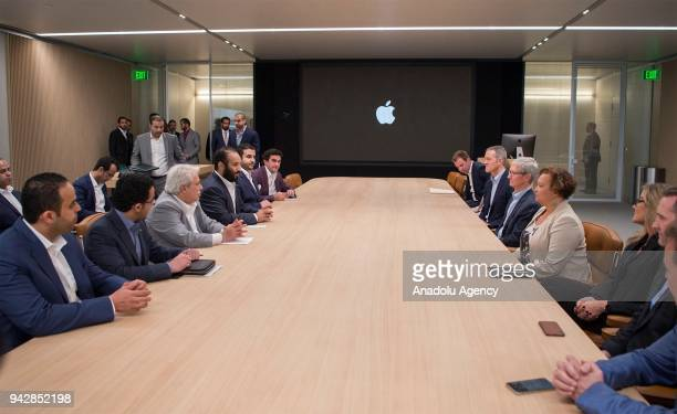 Crown Prince of Saudi Arabia Mohammed bin Salman Al Saud meets with CEO of Apple Tim Cook and executives of the company during his visit to Apple...