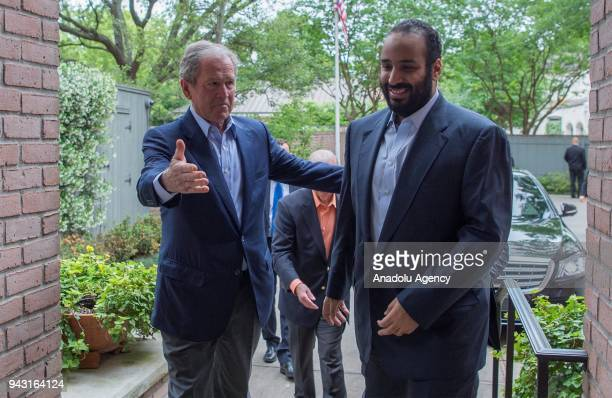 Crown Prince of Saudi Arabia Mohammed bin Salman Al Saud meets with 43rd US President George W Bush and former Secretary of State James and White...