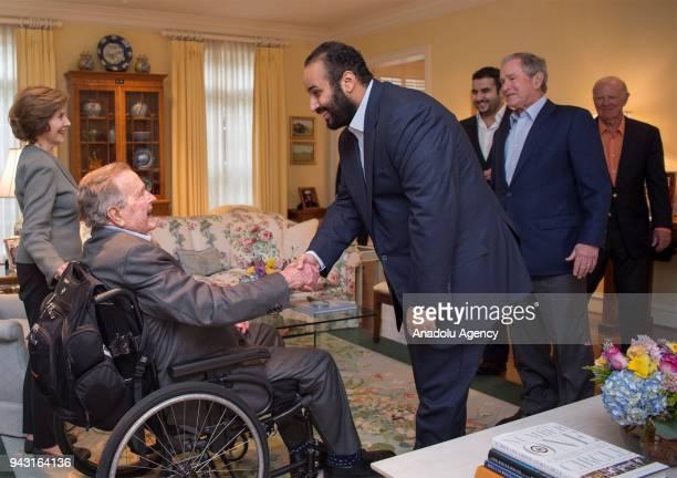 Crown Prince of Saudi Arabia Mohammed bin Salman Al Saud meets with 41st President George HW Bush 43rd US President George W Bush his wife Laura Bush...