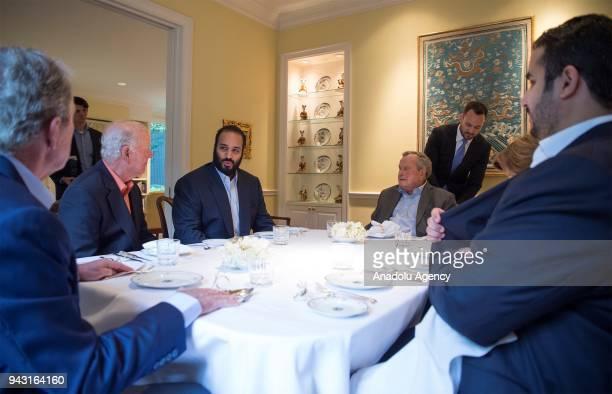 Crown Prince of Saudi Arabia Mohammed bin Salman Al Saud meets with 41st President George HW Bush 43rd US President George W Bush and former...