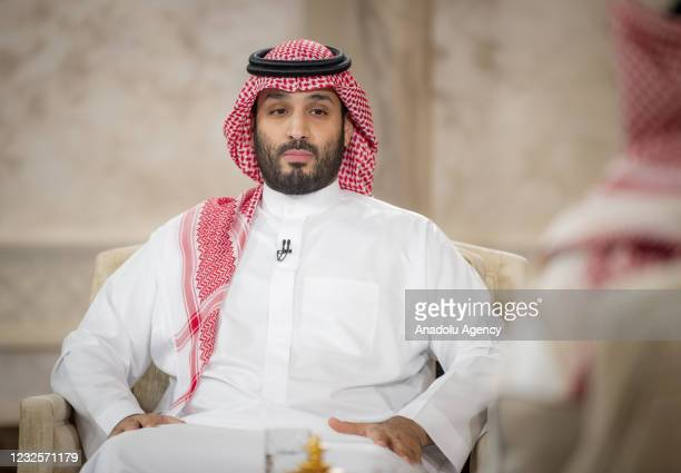 Crown Prince of Saudi Arabia Mohammed bin Salman gives an interview to the official TV channel in Riyadh, Saudi Arabia on April 28, 2021.