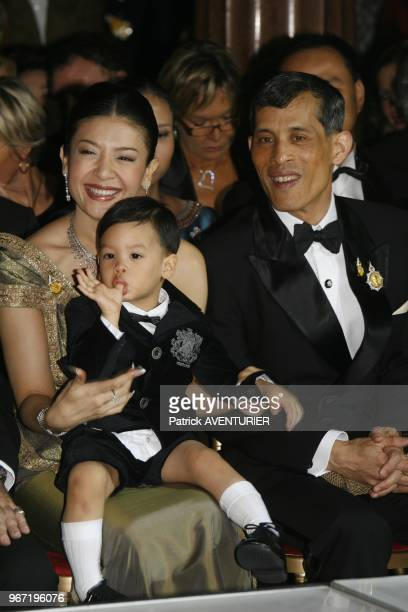 Crown prince of Thailand Maha Vajiralongkorn HRH princess Srirasmi and their son Prince Dipangkorn Rasmijoti attended Princess Sirivannavari's...