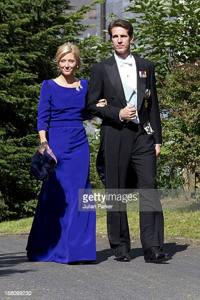 Crown Prince Pavlos And Crown Princess Marie Chantal Of Greece Attend The Wedding Of Princess Nathalie Of SaynWittgenstein Berleburg To Alexander...