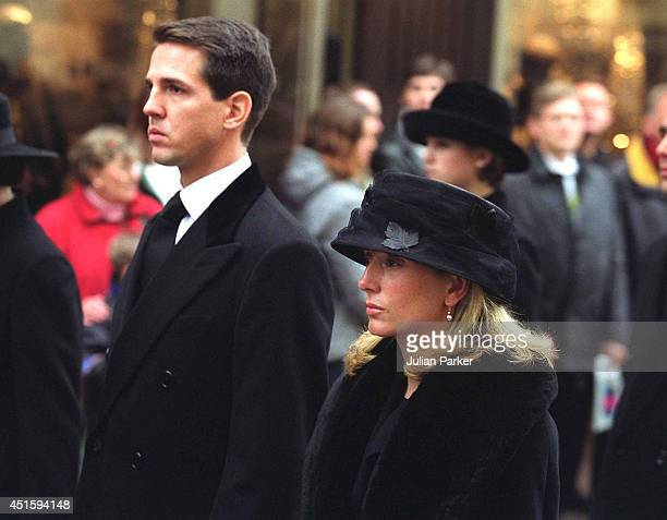L R Crown Prince Pavlos of Greece and Crown Princess Marie Chantal of Greece during the Funeral procession of Queen Ingrid The Queen Mother of...