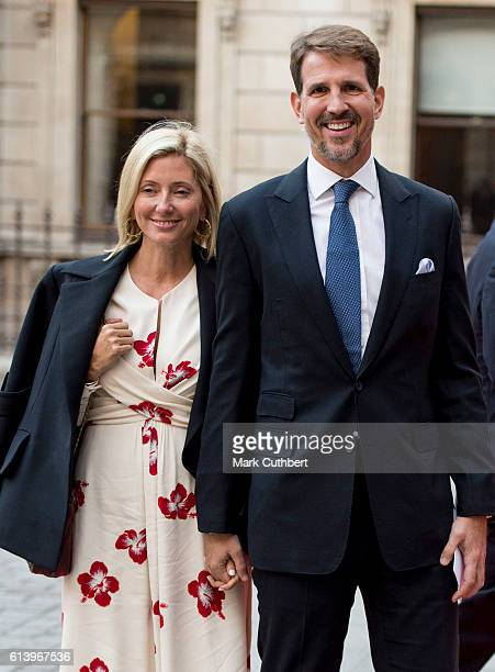 Crown Prince Pavlos of Greece and Crown Princess Marie Chantal of Greece arrive for an awards ceremony at The Royal Academy of Arts on October 11...
