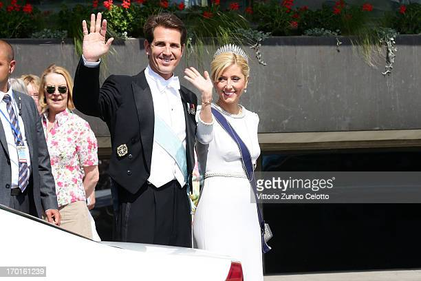 Crown Prince Pavlos of Greece and Crown Princess MarieChantal of Greece depart The Grand Hotel to attend the wedding of Princess Madeleine of Sweden...