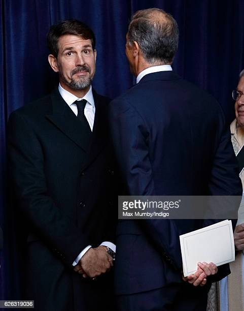 Crown Prince Pavlos of Greece and Edward van Cutsem attend a Memorial Service for Gerald Grosvenor, 6th Duke of Westminster at Chester Cathedral on...