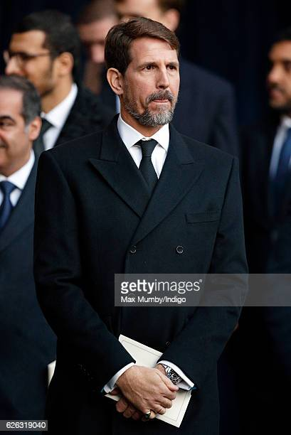 Crown Prince Pavlos of Greece attends a Memorial Service for Gerald Grosvenor 6th Duke of Westminster at Chester Cathedral on November 28 2016 in...