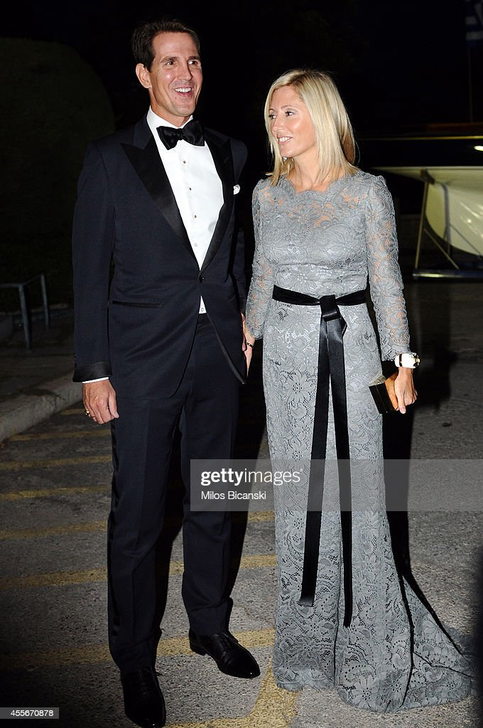 Crown Prince Pavlos of Greece with Crown Princess Marie-Chantal of Greece arrive for a private dinner organized by former King Constantine II of Greece and former Queen Anne-Marie to celebrate their Golden wedding anniversary at the Yacht Club of Greece in Piraeus, Greece, 18 September 2014.