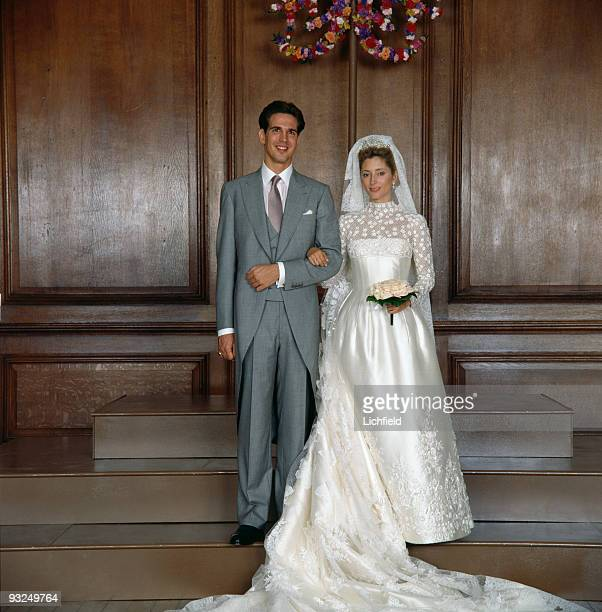 Crown Prince Pavlos of the Hellenes with Crown Princess Marie-Chantal at Hampton Court Palace on 1st July 1995. The bride was born Marie-Chantal...