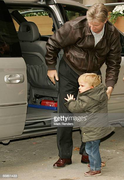 Crown Prince Philippe and Prince Gabriel of Belgium arrive at the Erasmus Hospital to visit Crown Princess Mathilde who gave birth to a baby boy...