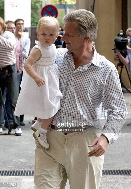 Crown Prince Philippe arrived with his daughter Princess Elisabeth at Erasmus hospital 20 August 2003 in Anderlecht Brussels Princess Mathilde...