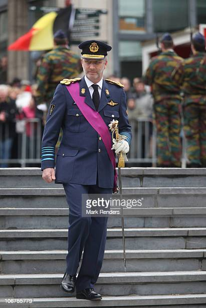 Crown Prince Philippe of Belgium arrives at the Thomb of the Unknown Soldier on Armistice Day on November 11 2010 in Brussels Belgium