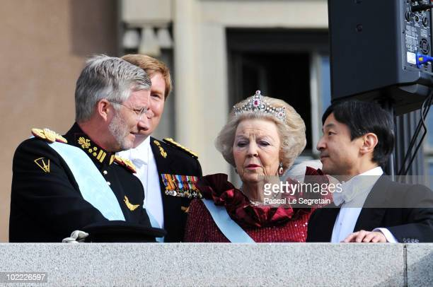 Crown Prince Philippe of Belgium, Crown Prince Willem-Alexander of the Netherlands, Queen Beatrix of the Netherlands and Crown Prince Naruhito of...