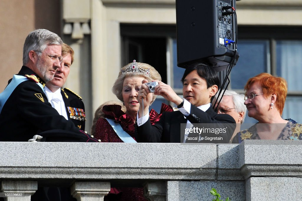 Crown Prince Philippe of Belgium, Crown Prince Willem-Alexander of the Netherlands, Queen Beatrix of the Netherlands and Crown Prince Naruhito of Japan appear on the Lejonbacken Terrace after their wedding ceremony on June 19, 2010 in Stockholm, Sweden.
