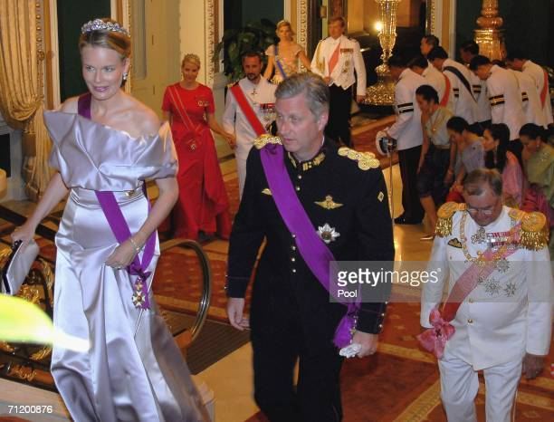 Crown Prince Philippe of Belgium , Princess Mathilde of Belgium and Prince Henrik of Denmark arrive to attend the Royal banquet at the Golden Palace...