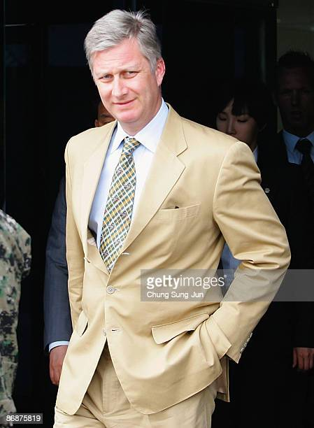 Crown Prince Philippe of Belgium visits the South side of the border in the village of Panmunjom between South and North Korea on May 10 2009 in...
