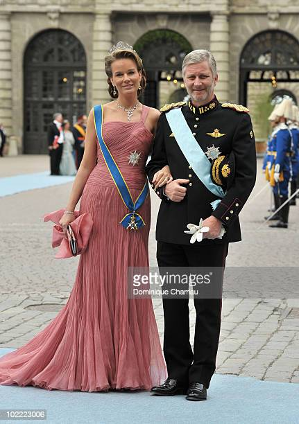 Crown Prince Philippe the Duke of Brabant and Crown Princess Mathilde attends the wedding of Crown Princess Victoria of Sweden and Daniel Westling on...