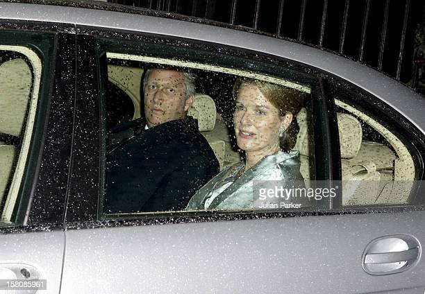 Crown Prince Phillipe And Crown Princess Mathilde Of Belgium Arrive At Buckingham Palace In London For A Private Reception And Concert Given By Her...