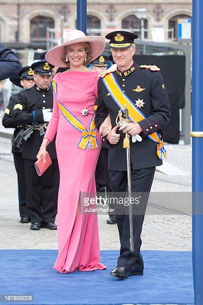 Crown Prince Phillipe and Crown Princess Mathilde of Belgium leave the Nieuwe Kerk in Amsterdam after the inauguration ceremony of King Willem...