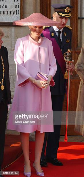 Crown Prince Phillipe & Crown Princess Mathilde Of Belgium Attend The Civil Wedding Ceremony Of Prince Laurent Of Belgium & Claire Coombs At The Town...