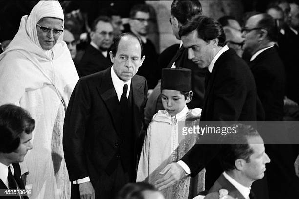 Crown Prince Sidi Mohamed of Morocco is welcomed by French Foreign Minister MIchel Joberr as he represents his father King Hassan II at the funerals...