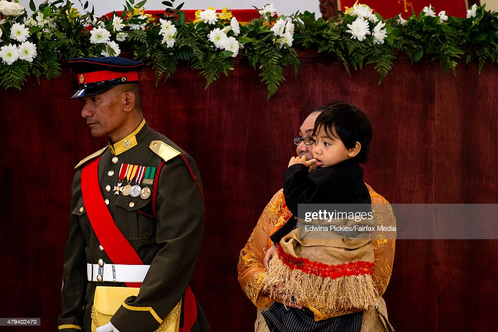 Crown prince son HRH Prince Taufa'ahau Manumataongo Tuku'aho is seen at the Free Wesleyan Church during the official coronation ceremony on July 4, 2015 in Nuku'alofa, Tonga. Tupou VI succeeds his brother, King Tupou V, who passed away in 2012.