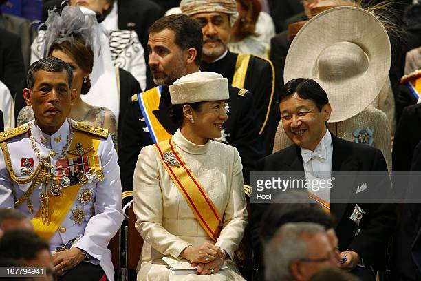 Crown Prince Vajiralongkorn of Thailand Crown Prince Naruhito of Japan and Crown Princess Masako of Japan attend the inauguration of HM King Willem...