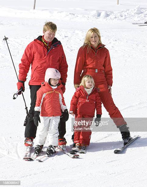 Crown Prince Willem Alexander And Crown Princess Maxima Of Holland With Daughters Princess Alexia Princess Catharina Amalia Attend A Photocall With...