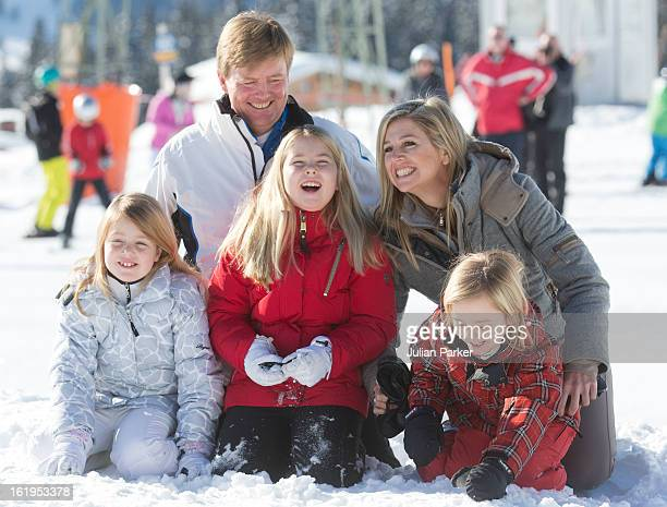 Crown Prince Willem Alexander, and Crown Princess Maxima of Holland, with their children, Princess Catharina Amalia, Princess Alexia, and Princess...