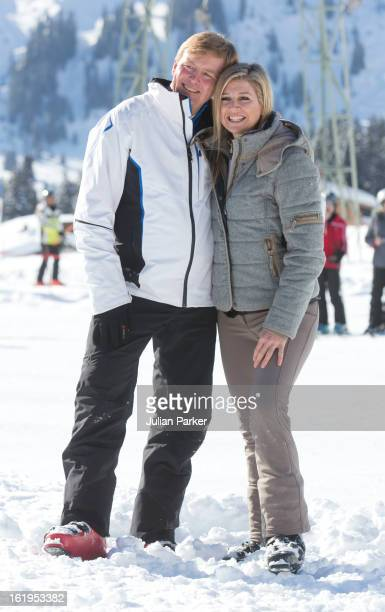 Crown Prince Willem Alexander, and Crown Princess Maxima of Holland, pose for photographs during thier annual winter skiing holiday, on February 18,...