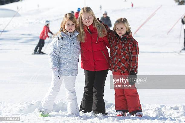 Crown Prince Willem Alexander and Crown Princess Maxima of Holland's daughter's Princess Catharina Amalia Princess Alexia and Princess Ariane pose...